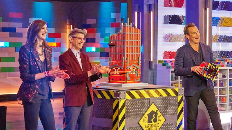 Lego Masters judges Amy Corbett and Jamie Berard with host Will Arnett