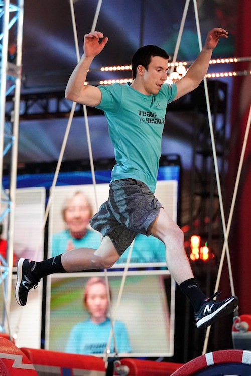 Lucas Reale on the Burn Rubber obstacle, which is one of two options at the new Split Decision on the American Ninja Warrior season 13 course