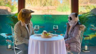 A minotaur and a panda on a date at an aquarium on Netflix's Sexy Beasts