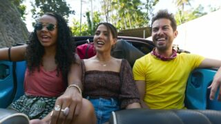 World's Most Amazing Vacation Rentals hosts Jo Franco, Megan Batoon, and Luis Ortiz in Bali during episode 1,
