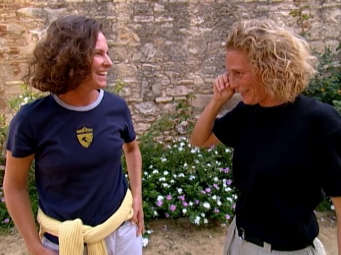 The Mole player Jennifer, right, is reunited with her partner Amy despite getting a question wrong during The Mole season 1, episode 5's second test.