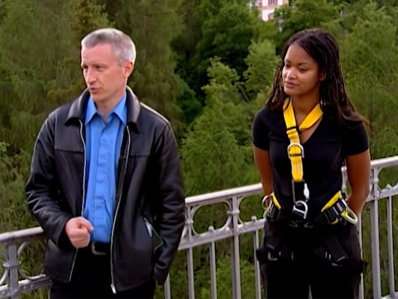 In The Mole season 2's third game, Anderson Cooper offered Elavia an exemption if she decided to not jump off a bridge.
