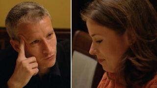 Anderson Cooper interrogates Kathryn Price at dinner in Seville, Spain, on The Mole season 1, episode 4.