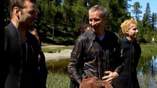 A soaking wet Anderson Cooper after being thrown into cold water by The Mole 2's players during episode 3.