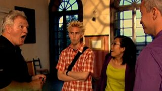 The smart group—Bill, Rob, and Dorothy—react to Dorothy's brainteaser