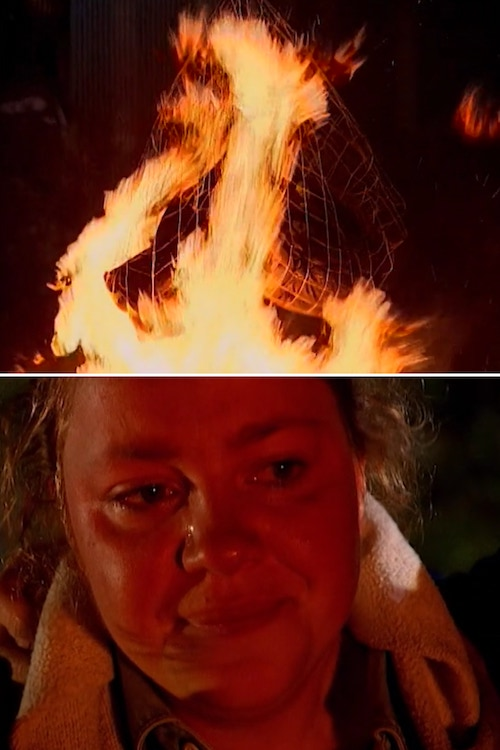 The Mole season 2's players bags burn after the second test, and Katie cries while watching her childhood stuffed animal burn up.