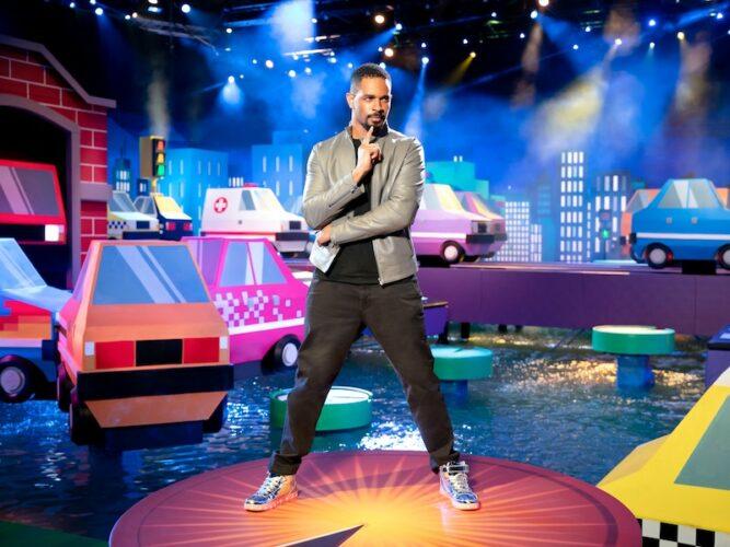 "Frogger host Damon Wayans Jr. on the set of ""Rush Hour"""