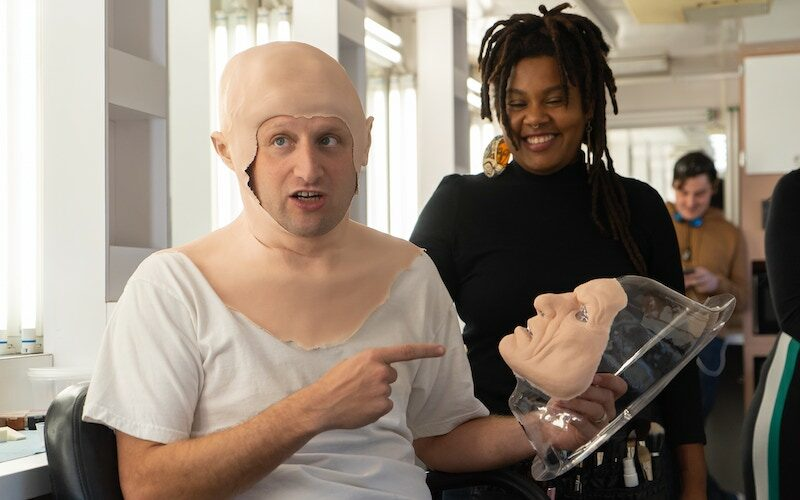 Tim Robinson in character as a prank show host during a sketch on I Think You Should Leave with Tim Robinson season 2