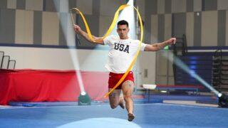 Joe Jonas attempts rhythmic gymnastics on NBC's Olympic Dreams featuring Jonas Brothers