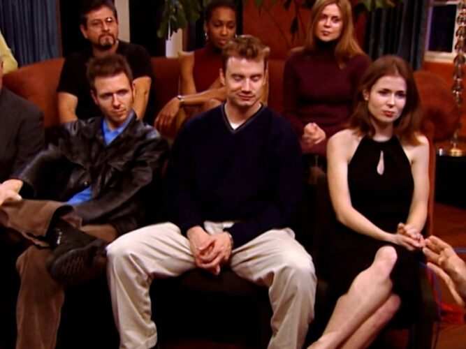 The Mole's final three, Jim, Steven, and Kathryn, plus other players during The Mole season 1, episode 9's reunion.