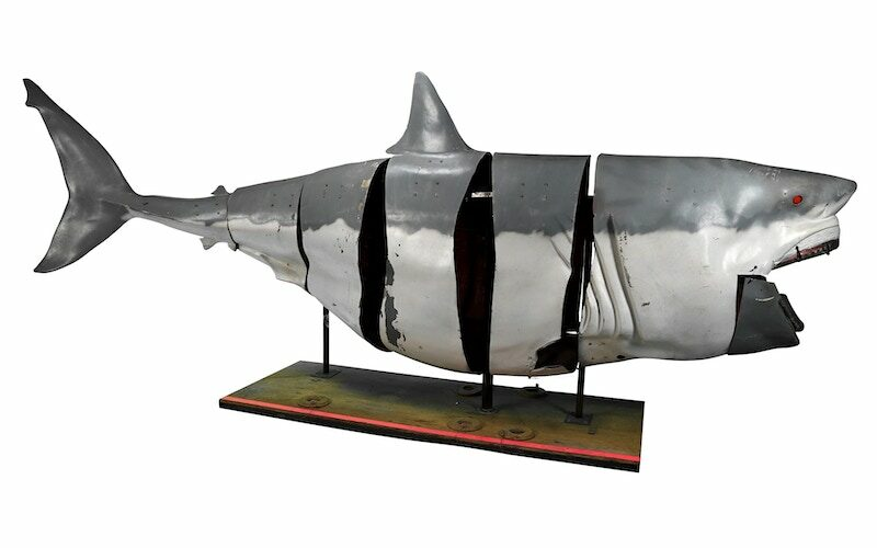 A 500-pound mechanical shark built for Mythbusters' 2008 Shark Week special is up for auction along with other props from the Discovery Channel series.