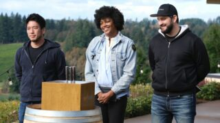 Top Chef Portland finalists Shota Nakajima, Dawn Burrell, and Gabe Erales at the start of the finale