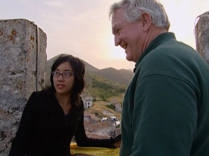 Dorothy and Bill at the top of the tower during the Evader test on The Mole 2, episode 10