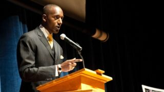 Dr. Randal D. Pinkett talking to cadets at the U.S. Coast Guard Academy in New London, Conn., on April 4, 2011