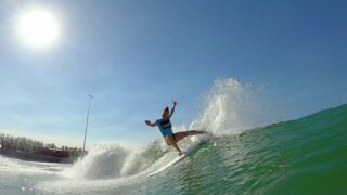 A contestant on ABC's The Ultimate Surfer on an artificial wave at Kelly Slater's Surf Ranch