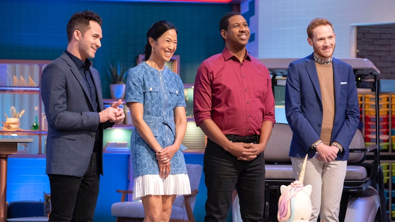 Baking Impossible host Justin Willman, and judges Joanne Chang, Dr. Hakeem Oluseyi, and Andrew Smyth