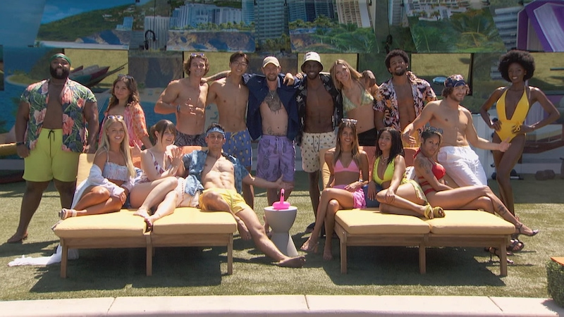 Big Brother 23's cast. From left to right, standing: Derek Frazier, Britini D'Angelo, Travis Long, Derek Xiao, Brandon 'Frenchie' French, Xavier Prather, Claire Rehfuss, Kyland Young, Christian Birkenberger, and Azah Awasum. Sitting: Whitney Williams, Sarah Steagall, Brent Champagne Alyssa Lopez, Hannah Chaddha, and Tiffany Mitchel