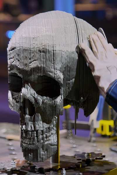 Lou works on a Day of the Dead-inspired avatar in episode one of Metal Shop Masters