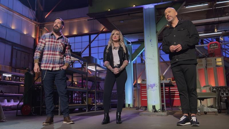 Metal Shop Masters judges David Madero and Stephanie Hoffman, and host Jo Koy