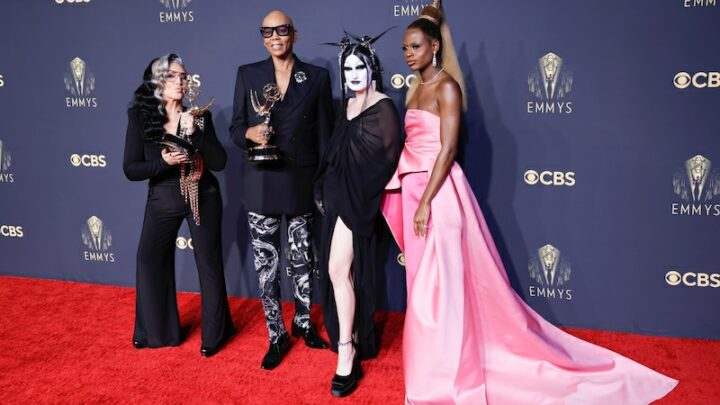 Michelle Visage, RuPaul, Gottmik, and Symone, from RuPaul's Drag Race, after the show won the Outstanding Reality-Competition Program Emmy at the 73rd Emmy Awards