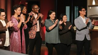 Top Chef all-stars Dale Talde, Nina Compton, Tiffany Derry, Gregory Gourdet, Maria Mazon, Jamie Tran, and Byron Gomez—some of whom are returning for Top Chef Houston—applaud at the end of Top Chef Portland, presumably for the return of the all-star panel, and not the season's awful winner