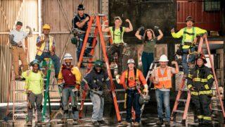 The Tough As Nails season 3 cast. From left to right, top: Lia Mort, Jerome Kapuka'a, Lamar Edwin Hanger, Elizabeth Rillera, Kelsy Reynolds, and Takeru