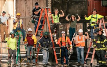 """The Tough As Nails season 3 cast. From left to right, top: Lia Mort, Jerome Kapuka'a, Lamar Edwin Hanger, Elizabeth Rillera, Kelsy Reynolds, and Takeru """"Tak"""" Tanabe. Bottom: Sarah Ham, Micahel Shaffer, DeQuincey """"Quincey"""" Walker, Christine Connors, Alfredo """"Alfie"""" Rivera, and Kalimba Edwards"""
