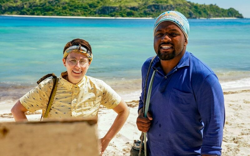 Evvie Jagoda and Deshawn Radden just before they realize they're repeating Survivor 41's risk/protect your vote twist.